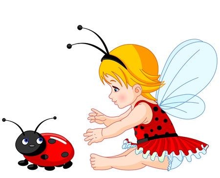 La petite fée fille essaie d'attraper une coccinelle Banque d'images - 30401814