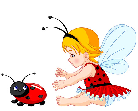 cute baby girls: The little fairy girl tries to catch a ladybird