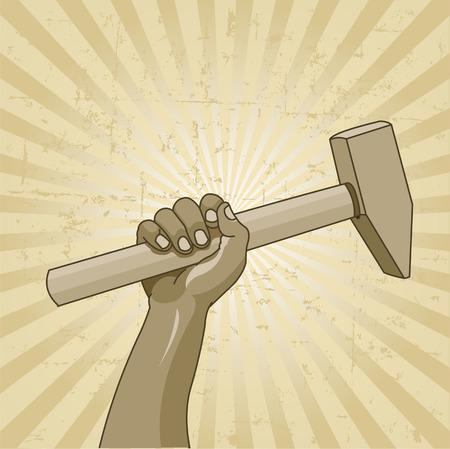 ハンマーを持つ労働者の手とプラカードを労働者の日の設計