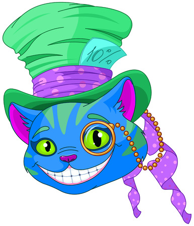 Cheshire cat in Top Hat and monocle Vector