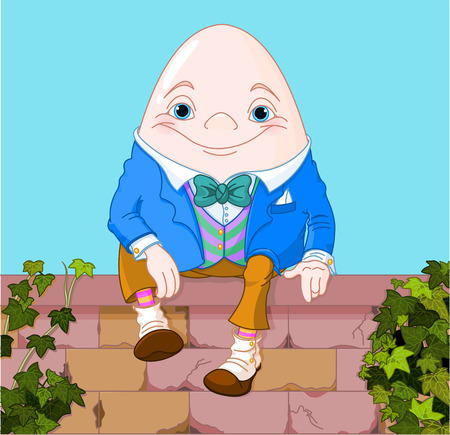 Humpty Dumpty egg sitting on a brick wall Vector