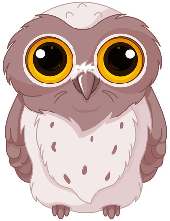 Illustration of owlet stares wide-eyed