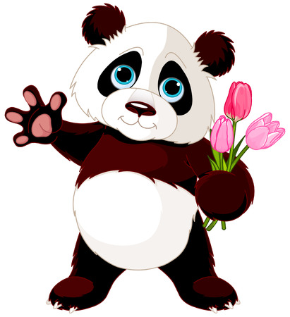 ourson: Illustration de Panda tenant bouquet de tulipes