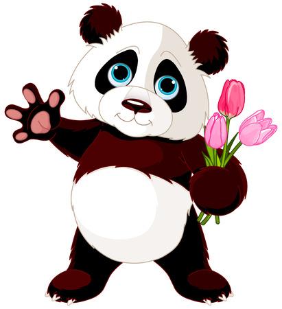 mazzo di fiori: Illustrazione di Panda holding bouquet di tulipani