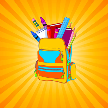 Illustration of full backpack of school supplies on striped yellow background