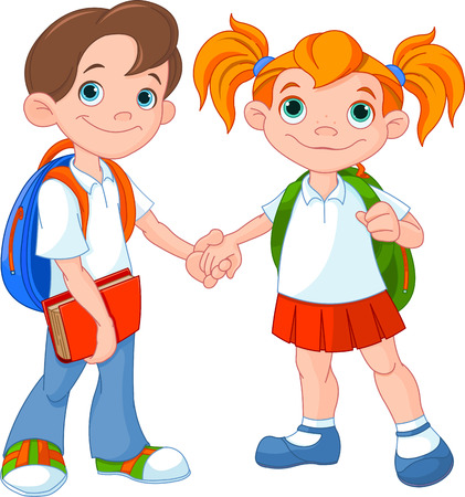 Boy and girl ready to go back to school   Vector