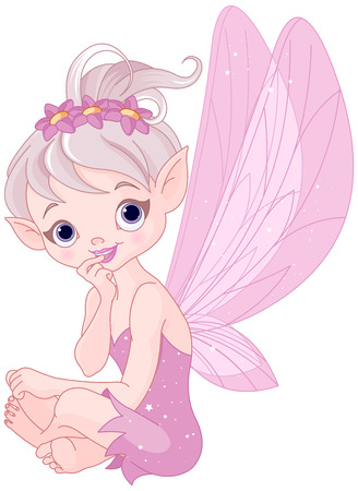 Very cute fairy sitting and listens attentively Vector