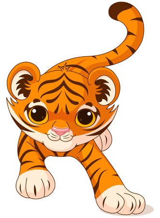 Illustration of crouching cute baby tiger Vector
