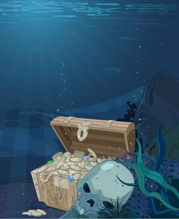 Fabulous scenery seabed treasure Vector