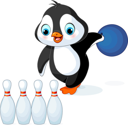 nudelholz: Illustration von niedlichen Pinguin spielt Bowling
