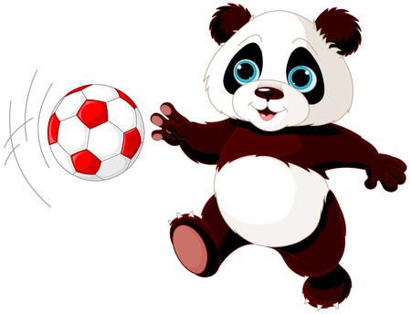 サッカーをして子パンダのイラスト