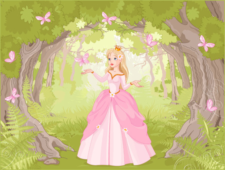 princess dress: Charming princess a fantastic wood surrounded by butterflies