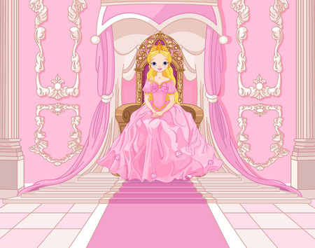 Charming Princess sits on a throne in the pink hall Vector