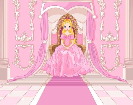 trono: Princesa encantadora se sienta en un trono en la sala rosa