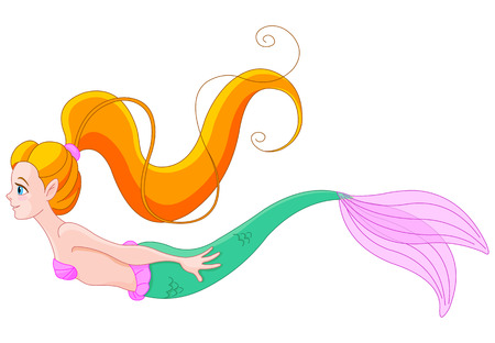 haired: Cute red haired mermaid swimming Illustration