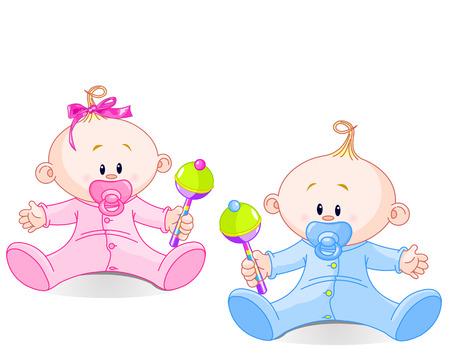 Gemelo del bebé y una niña jugando con sonajeros