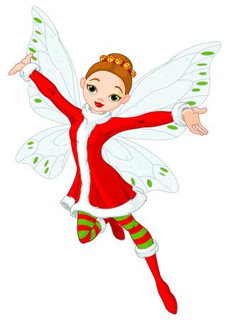 duendes de navidad: Ilustraci�n de una hermosa hada de Navidad en vuelo Vectores