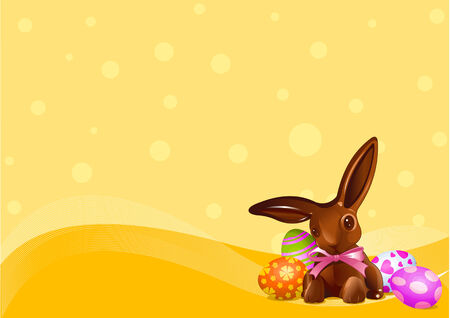 An Easter chocolate bunny on yellow background