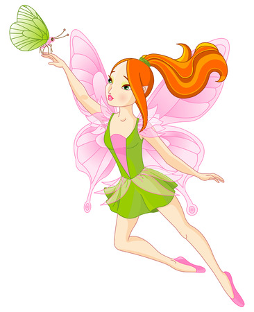 Illustration of flying beautiful fairy and butterfly Vector