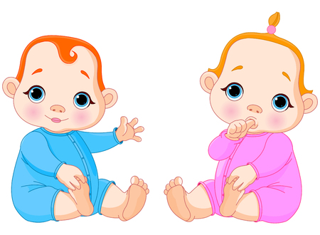 Illustration of two beautiful babies