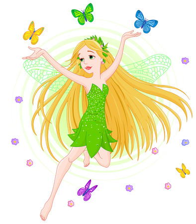 Illustration of a spring fairy in flight surrounded by butterfly Vector