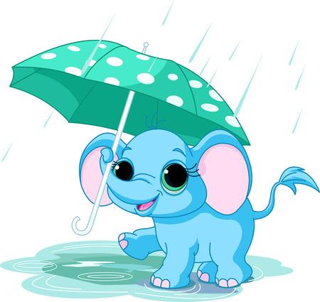 Illustratie van leuke grappige baby olifant onder paraplu