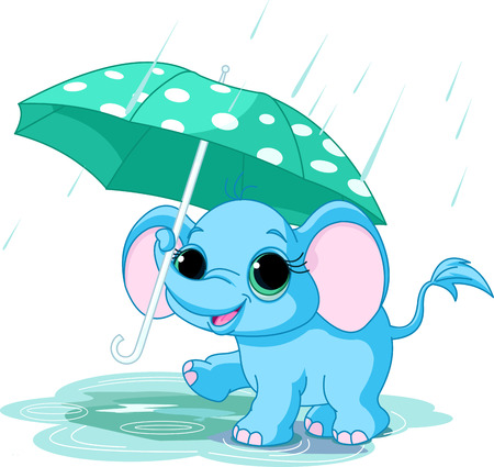 Illustration of cute funny baby elephant under umbrella