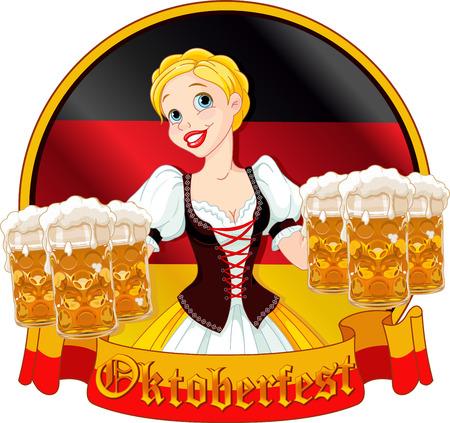 Funny German girl serving beer on Oktoberfest design Vector