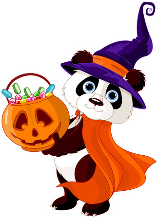 Illustration of cute costumed panda holds full of candy pumpkin Vector