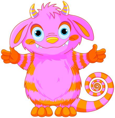 Illustration of very cute horned monster