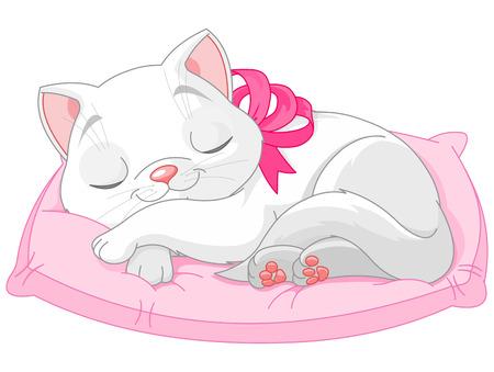 Illustratie van schattige witte kat met roze strik sijpelt op kussen