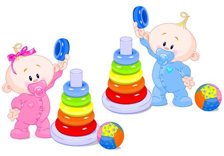 De peuter jongen en het meisje spelen ontwikkelen kleur piramide. Stock Illustratie
