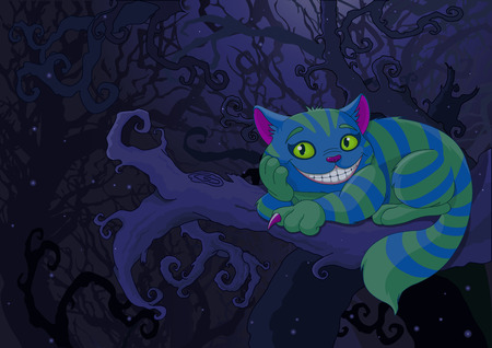 Illustration of Cheshire cat sitting on a branch on the fairy forest background Illustration