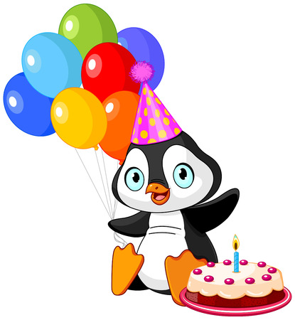 penguin cartoon: Cute Penguin with party hat holding balloons