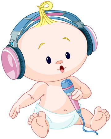 escuchando musica: Ilustración de lindo DJ bebé Vectores