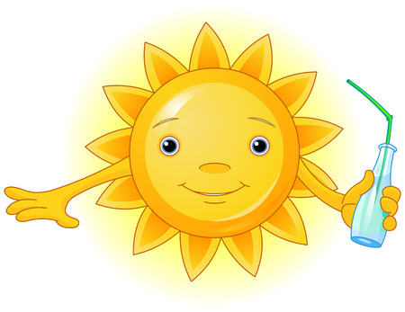 hot water bottle: Cartoon Character of Cute Summer Sun with bottle of water Illustration