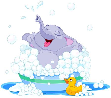 birretes: Ilustración de elefante lindo toma el baño en la cuenca