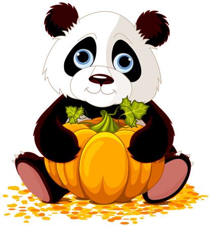 귀여운 팬더의 그림 호박을 보유하고