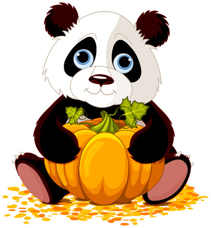 Illustration of cute panda holds pumpkin