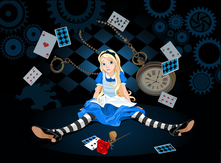 fantasy book: Confused Alice after she has grown in size and do not know what to do on flying elements background