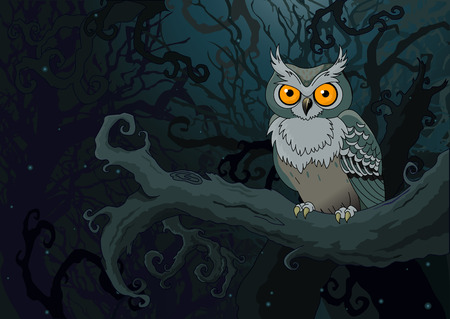 owl illustration: Owl sitting upon a tree branch in the ninthly background