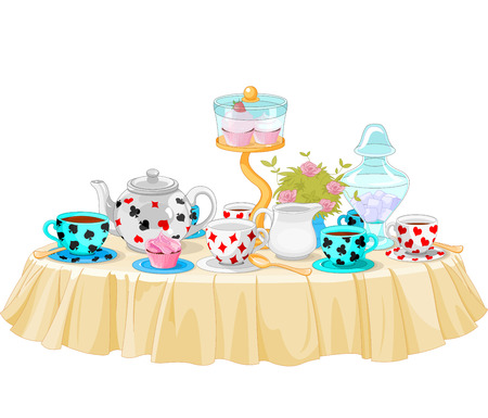 Wonderland Tea Party decorated table Stock Illustratie