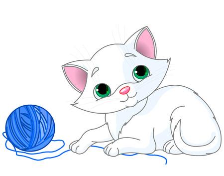 gato jugando: Gatito blanco jugando con un ovillo de lana