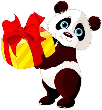 선물을 가지고 귀여운 팬더의 그림