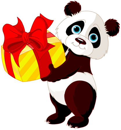 cute graphic: Illustration of cute Panda who got gift