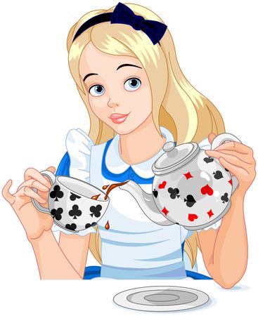 アリスはやかんからお茶のカップを注ぐ  イラスト・ベクター素材