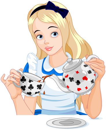 Alice pours a cup of tea from the kettle 向量圖像