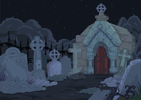 crypt: Illustration of night gothic cemetery