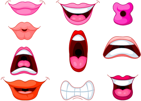 Set of different human mouth and lips Vector