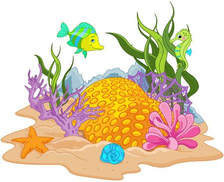caballo de mar: Ilustración de fondo de una escena bajo el agua